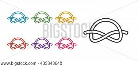 Set Line Nautical Rope Knots Icon Isolated On White Background. Rope Tied In A Knot. Set Icons Color