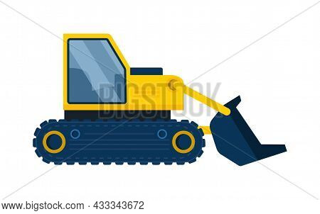 Large Excavator Concept. Sticker With Construction Equipment For Digging Up Earth. Design Element Fo