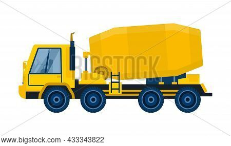 Concrete Mixing Equipment Concept. Truck With Large Capacity For Transporting Cement. Design Element