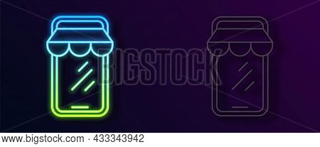 Glowing Neon Line Online Shopping On Mobile Phone Icon Isolated On Black Background. Internet Shop,