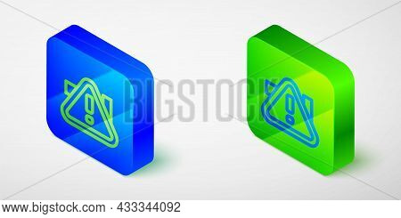Isometric Line Exclamation Mark In Triangle Icon Isolated Grey Background. Hazard Warning Sign, Care