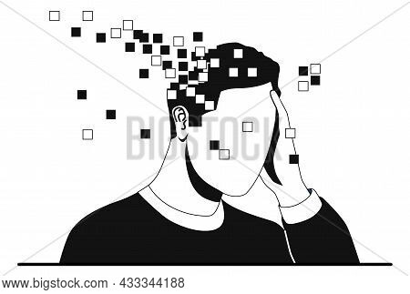 Memory Loss And Dementia Concept. Male Character Holds His Head And Loses Parts Of Brain. Metaphor F