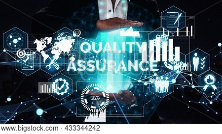 Quality Assurance And Quality Control Conceptual - Modern Graphic Interface Showing Certified Standa