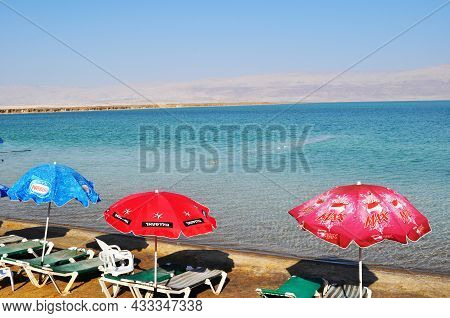 Panoramic View Of The Dead Sea Beach In Israel. Bright Sunny Summer Day At The Sea. September 10, 20