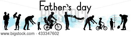 Father's Day. Pastimes Of Father And Son. Silhouettes Of Man And Boy. First Steps, Learning New Thin