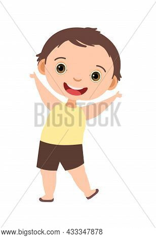 Child Funny. Little Boy. In Yellow Clothes. Kid Jumps For Joy. Charming Active Cute Character. Cute