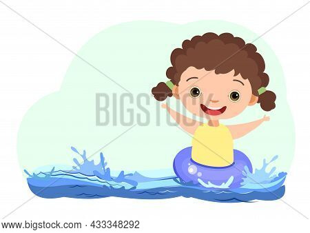Girl Is Having Fun. Waves Of Water In River, Sea Or Ocean. Swimming Circle, Diving And Water Sports.