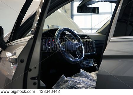 Moscow Russia - September 2021:modern Luxury Car In A Car Service. The Interior Of The Car Is Visibl
