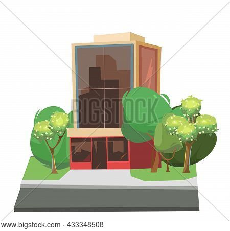 City Building. Among The Trees. Cartoon Fun Flat Style. Asphalt Road. Supermarket, Shop Or Business