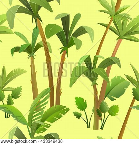 Tropical Background With Jungle Leaves. Thickets With Palms In Cartoon Style. Seamless Jungle Patter