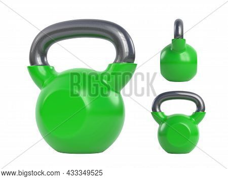 Green Kettlebell Over White Background. View From All Sides. Heavy Weights. Gym And Fitness Equipmen