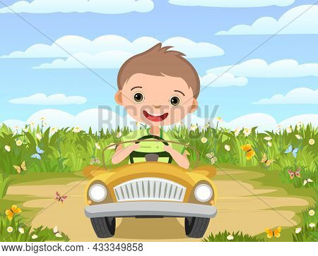 Childrens Adventure In Small Car. Sandy Glade On Meadow. Kid Drives Pedal Or Electric Toy Automobile