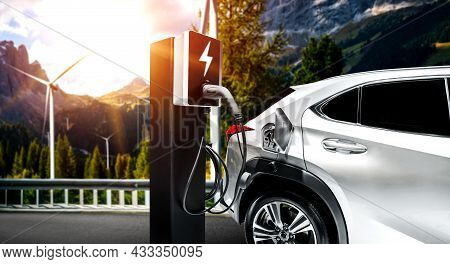 Ev Charging Station For Electric Car In Concept Of Green Sustainable Energy Produced From Renewable