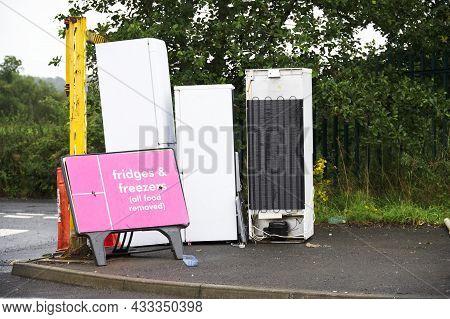 Old Fridges Freezers Wash Machines And Kitchen Appliances At Rubbish Dump