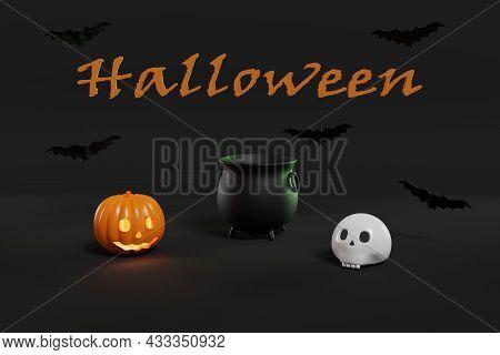 Halloween Still Life. Cauldron, Pumpkin, Skull And Bats On Dark Background. 3d Illustration.