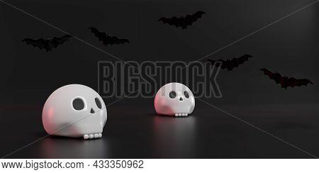 Halloween Still Life. Skull And Bats On Dark Background. 3d Illustration.