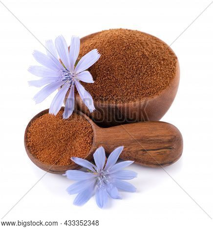 Chicory Powder And Flower In Wooden Bowl And Spoon, Isolated On White Background. Cichorium Intybus.