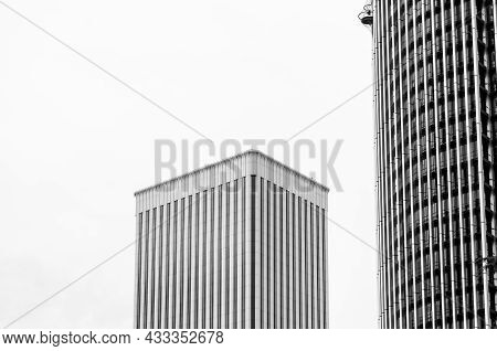 Madrid, Spain - September 13, 2021: Detail Of Europa Tower And Picasso Tower, Skyscrapers In The Azc