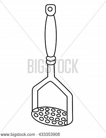 Potato Masher - Vector Linear Illustration For Coloring. Outline. Potato Press - Kitchen Tool For Co