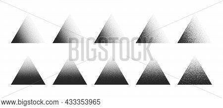 Stippled Triangle Hand Drawn Dotwork Vector Abstract Shapes Set In Different Variations Isolated On