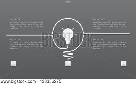 Abstract Light Bulb Symbol And Light Switch On Gray Background. Vector Illustration.
