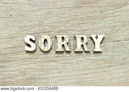 Alphabet Letter In Word Sorry On Wood Background