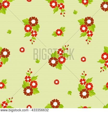 Seamless Pattern. Floral Pattern From A Bouquet Of Red Decorative Flowers With Leaves On A Light Yel