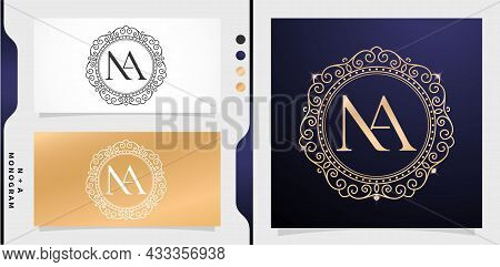 Set Of Label Initial Na Letter, Circle Gold Frame Border With Ornament Pattern. Applicable For Lette