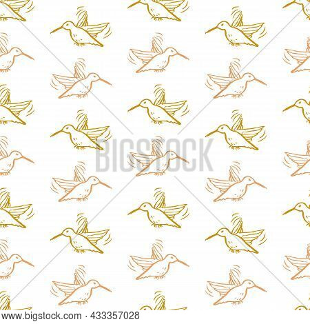 Victorian Botanical Hummingbird Seamless Vector Background. Vintage Pattern Of Exotic Bird For All O