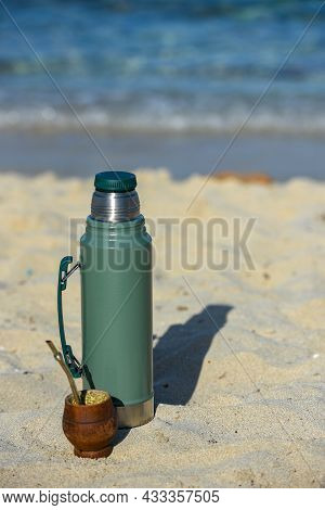Typical Mate Infusion Argentina, Uruguayan, Paraguayan And Brazilian On The Beach In 2021.