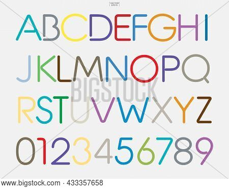 Colorful Stylized Alphabet Letters And Numbers. Stylish Typeface Design. Vector Illustration
