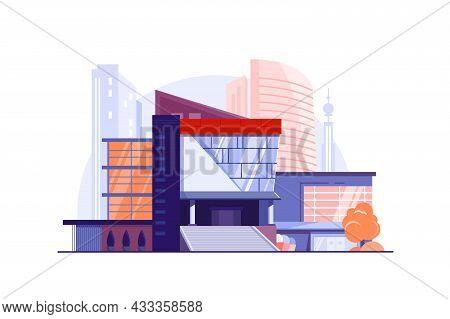 Modern Urban Building Business Center Vector Illustration. Main City Street, Luxury Construction Fla