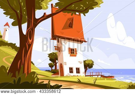Lighthouse Standing On Land Vector Illustration. Signal Building On Seaside Flat Style. Coastline La