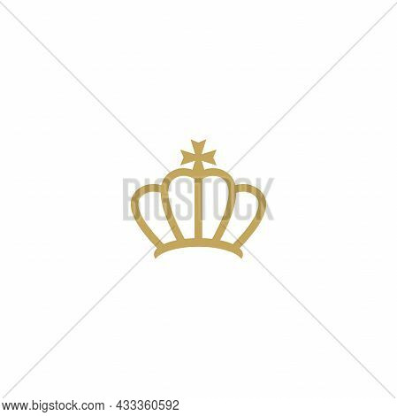Golden Line Crown Icon Isolated On White. Royal, Luxury, Vip, First Class Sign. Winner Award. Monarc