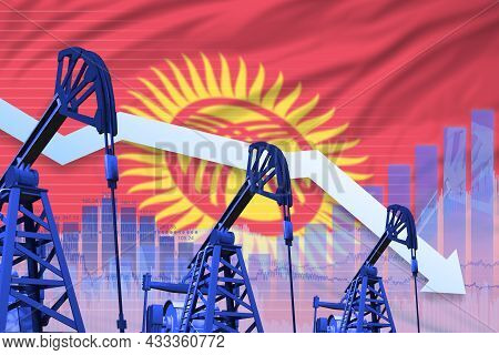 Kyrgyzstan Oil Industry Concept, Industrial Illustration - Lowering Down Chart On Kyrgyzstan Flag Ba