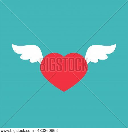 Red Heart With White Wings Isolated On Blue Background. Love, Romance, Date Icon. Love Letter Or Mes
