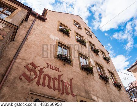 Wuerzburg, Bavaria, Germany - August 3 2021: Weinhaus Zum Stachel Wine Tavern In Lower Franconia.