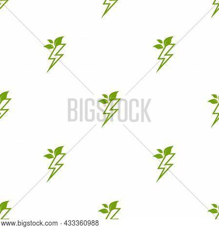 Green Lightning Bolt Simple Seamless Pattern. Storm Or Thunder And Lightning Strike Ornament On Whit