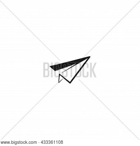 Paper Plane Icon. Flat Origami Airplane Isolated On White Background. Vector Illustration. Message,