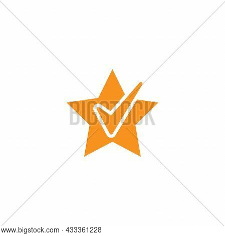 Valid Seal Icon. Golden Star With White Tick. Flat Ok Sticker Icon. Isolated On White. Accept Button