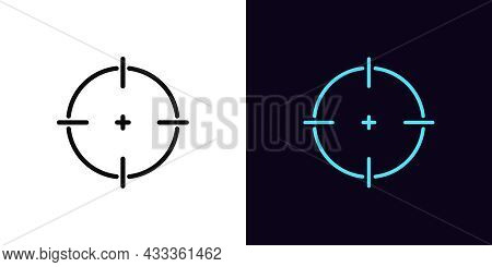 Outline Aim Icon With Editable Stroke. Linear Target Sign, Crosshair Pictogram. Accurate Aim, Target