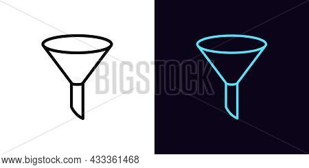 Outline Sales Funnel, Icon With Editable Stroke. Linear Conversion Sign, Funnel Pictogram. Automatic