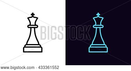 Outline Chessman King Icon, With Editable Stroke. Linear King Sign, Chess Piece Pictogram. Online Ch