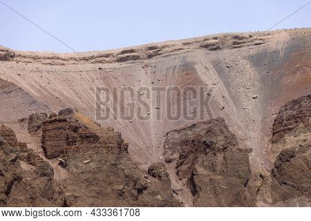 The Interior Of The  Mount Vesuvius Volcano Crater, Italy. It Is Located On The Gulf Of Naples In Ca