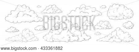 Hand Drawn Clouds. Vintage Sketch Of Sky Background. Retro Pencil Detailed Drawing. Cloudy Black And