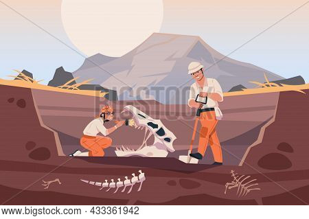 Paleontologist With Fossil. Scientists Working With Ground Excavation And Prehistorical Animal Skele