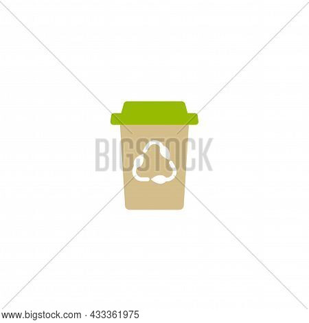 Brown Take-out Coffee With Cap And Reuse Sign. Disposable Cardboard Cup Of Coffee. Paper Container I