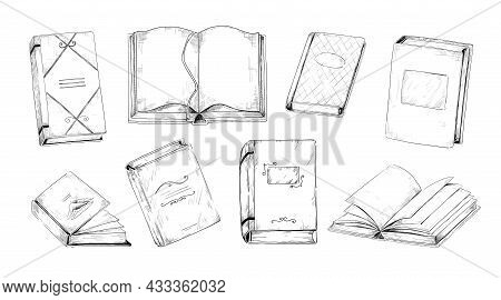 Hand Drawn Books. Vintage Engraving Of Student And School Reading Library. Black And White Sketches