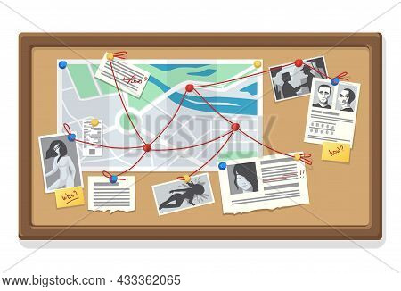 Detective Board. Police Evidence Collection With Map Notes And Traces. Photos Of Victims And Suspect