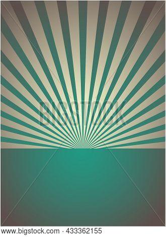 Sunlight Retro Vertical Background. Pale Blue, Beige Color Burst Background. Fantasy Vector Illustra